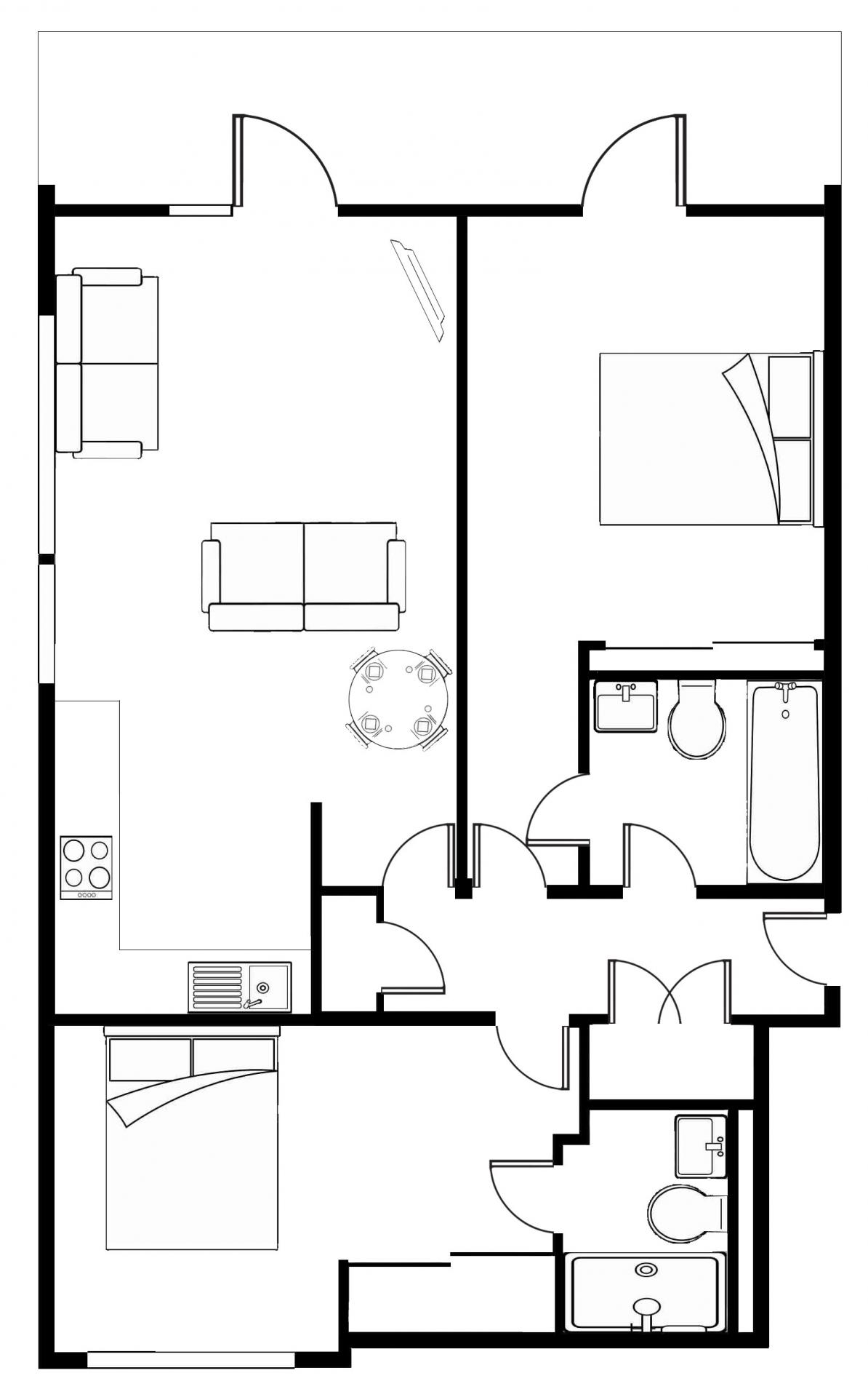 Floor plan at Meadowside Quay Apartment
