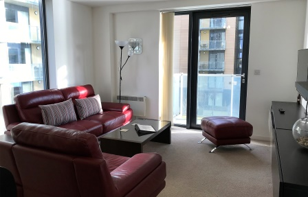 Living room at Meadowside Quay Apartment