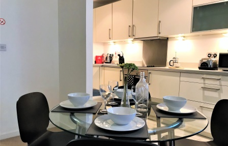 Kitchen at Meadowside Quay Apartment