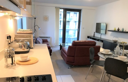 Stylish kitchen at Meadowside Quay Apartment