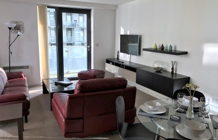 Bright living area at Meadowside Quay Apartment