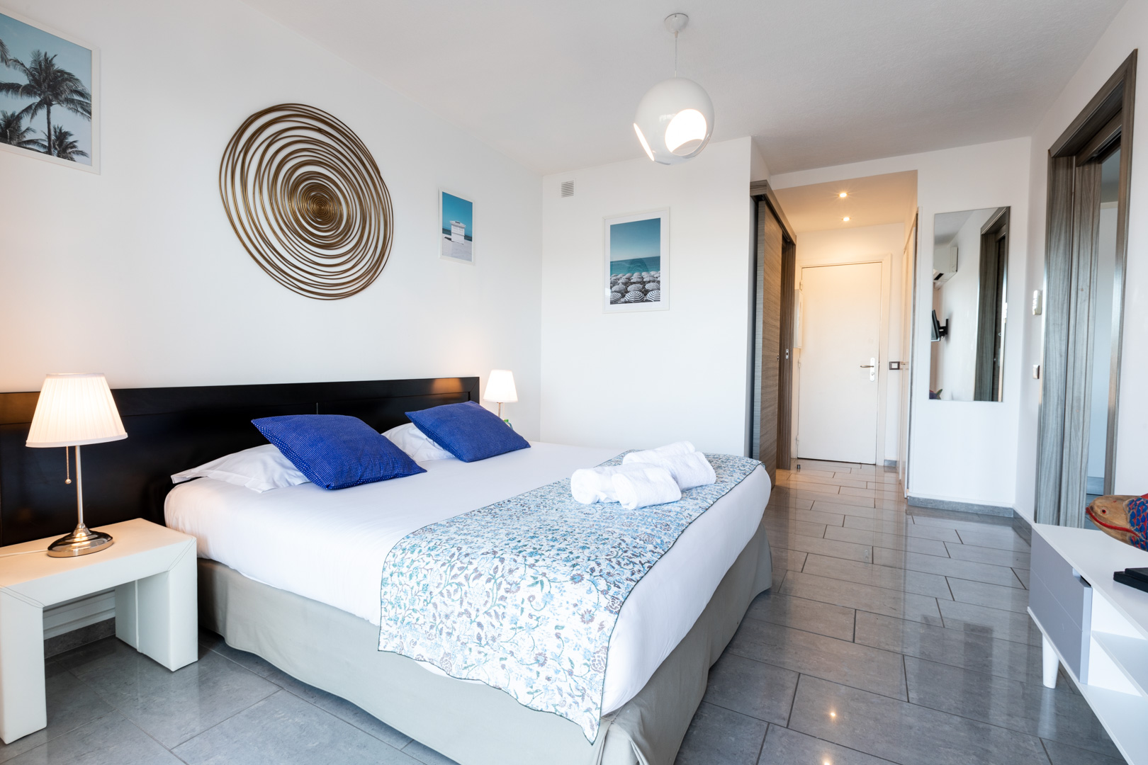 Double bed at Sky View Terrace Apartment