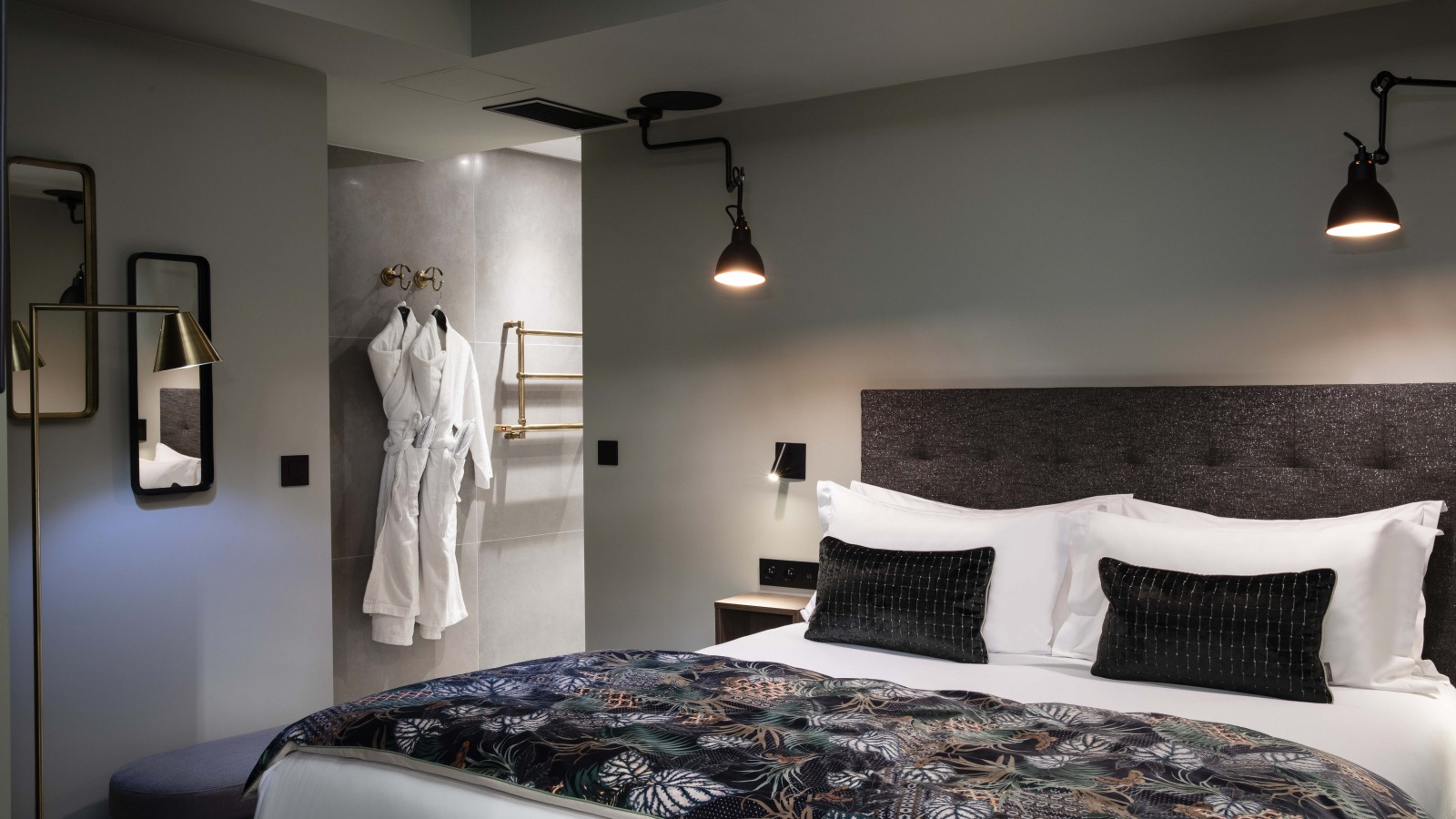 Stylish bedroom at Rayz Suites
