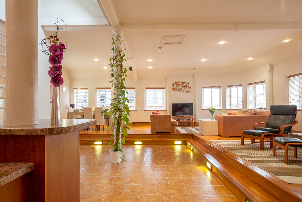 Spacious living area at Pilcher Gate Serviced Apartments