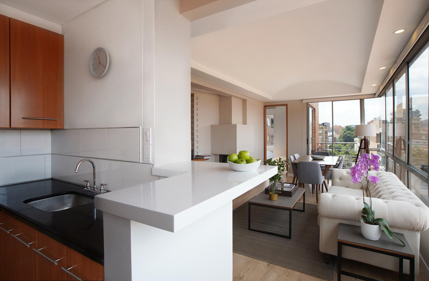 Open-plan living area at Soho93 Apartments