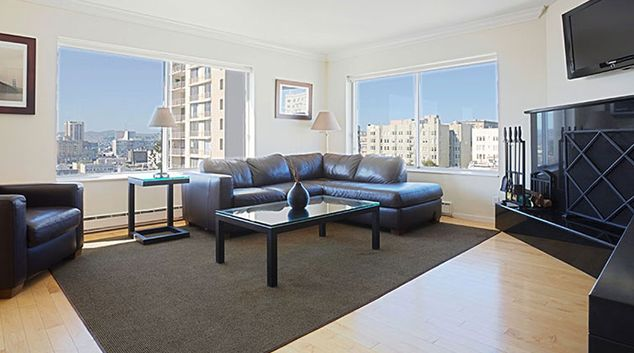 Living room at Clay Park Tower Apartment