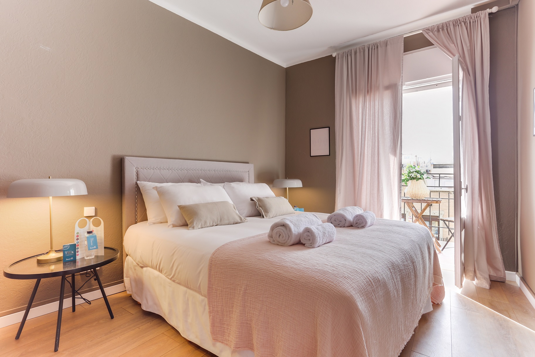 Sleek bedroom at Rocafort Apartments