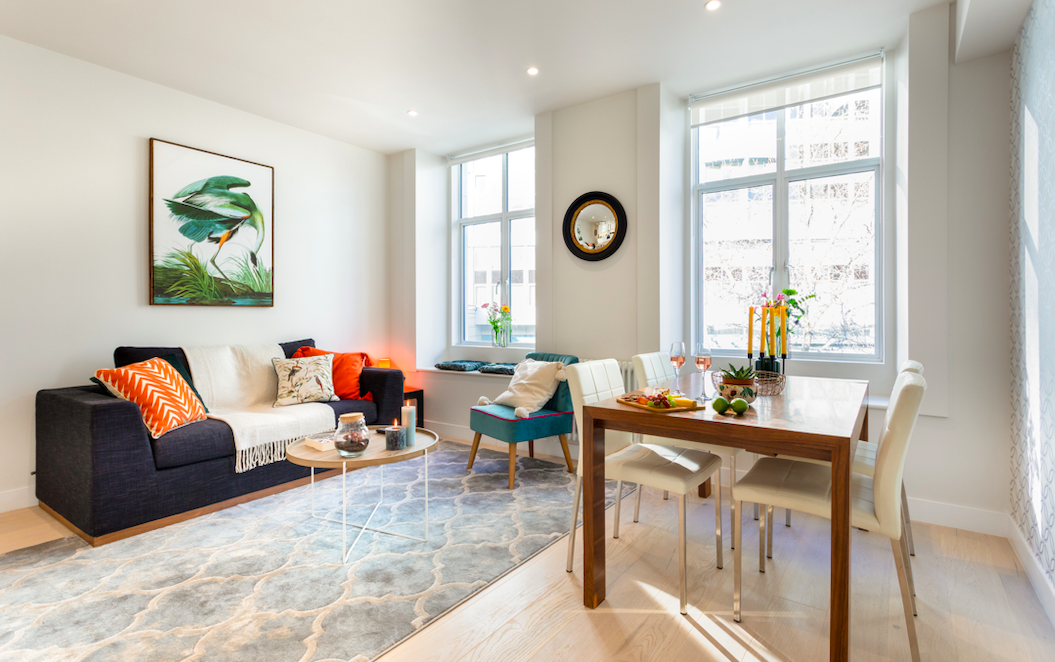 Modern living area at Kensington High Street Serviced Apartments