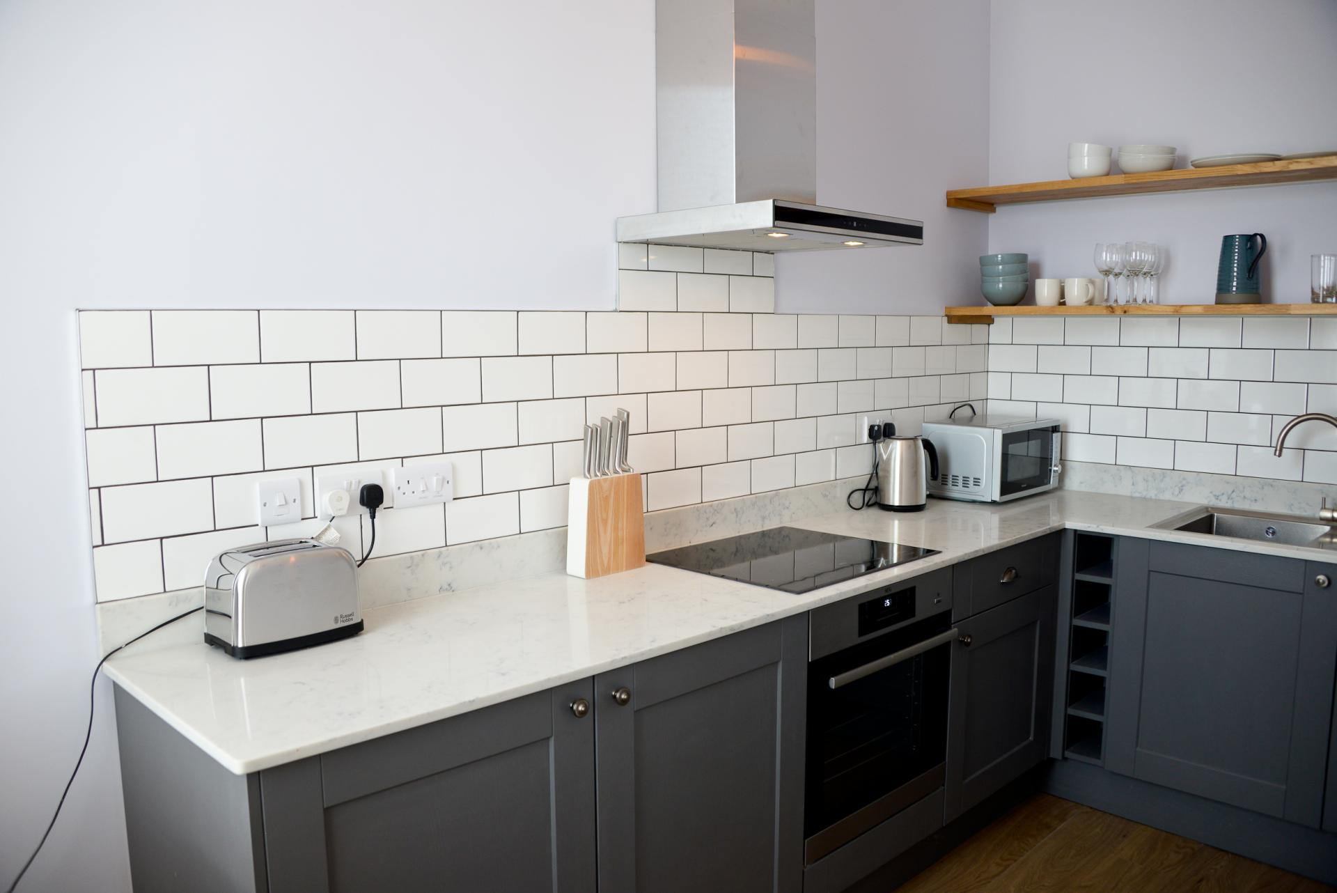 Kitchen facilities at Seaview Serviced Apartment