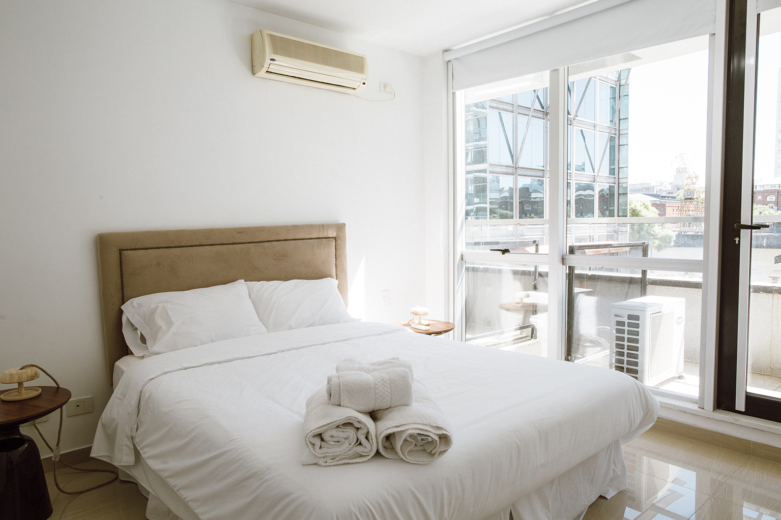 Modern bedroom at Lumiere Apartments