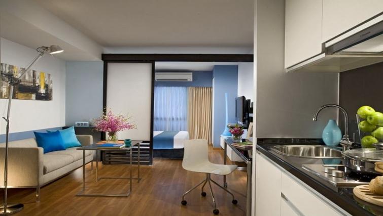 Modern living area in Citadines Sukhumvit 11 Apartments