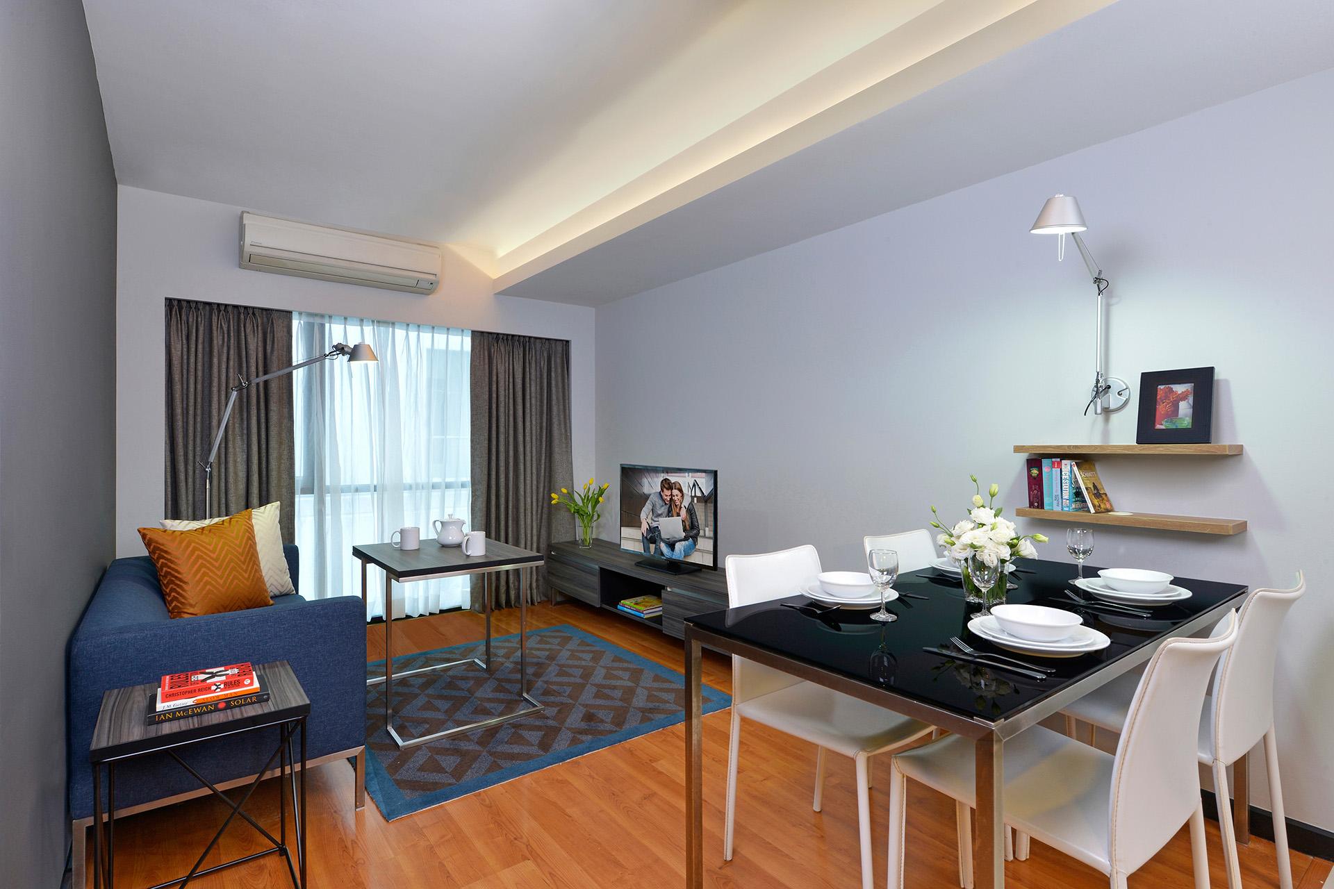 Open-plan living area at Citadines Sukhumvit 11 Apartments