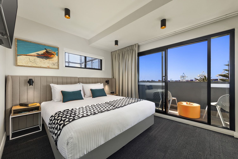 Modern bedroom at Quest Fremantle