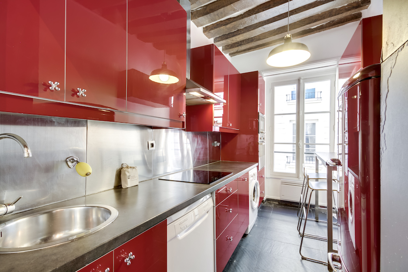 Kitchen at Rue Tiquetonne Apartment