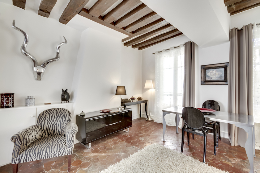 Stylish living area at Rue Tiquetonne Apartment