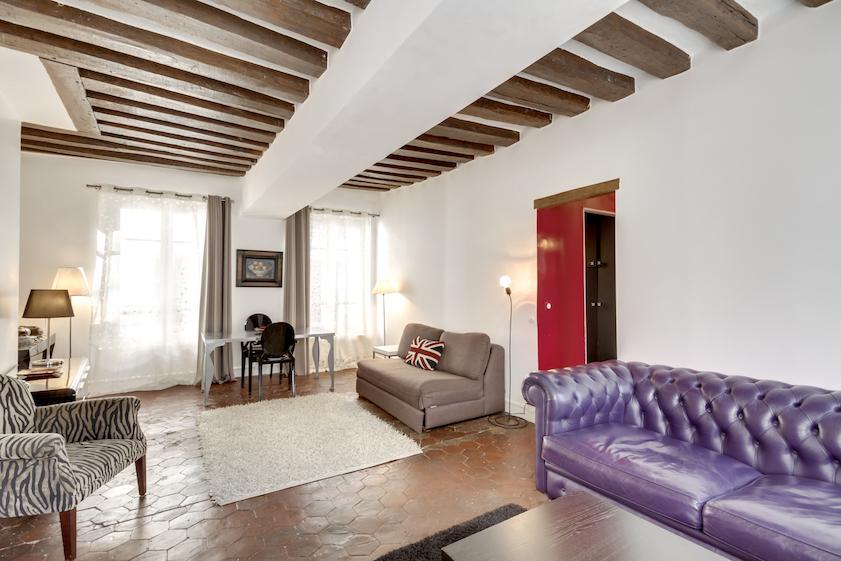 Sofa at Rue Tiquetonne Apartment
