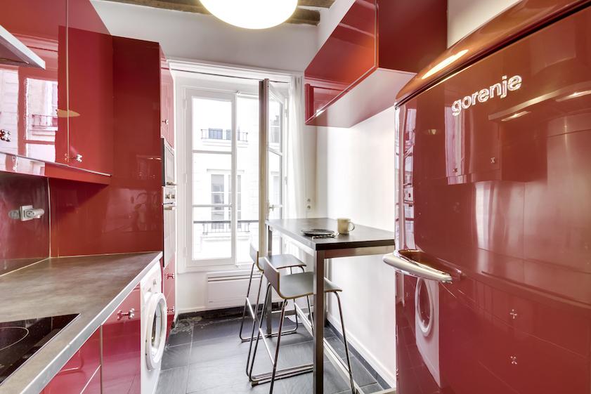 Modern kitchen at Rue Tiquetonne Apartment