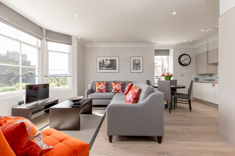 Open-plan living area at Chisholm Hunter Suites