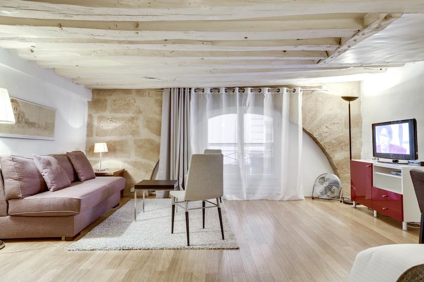 Living room at Rue Vieille du Temple Apartments, Le Marais, Paris