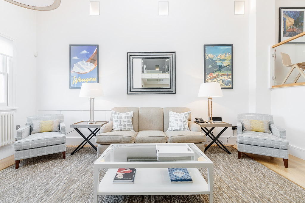 Living room at Snow on The Slopes Apartments