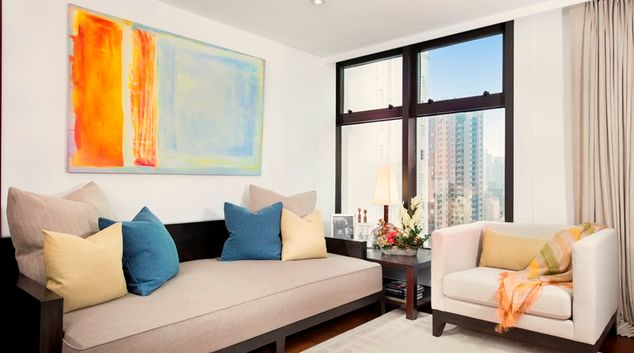 Living room at Peel Street Central Apartments