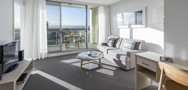 Living area at Oaks Glenelg Liberty Suites