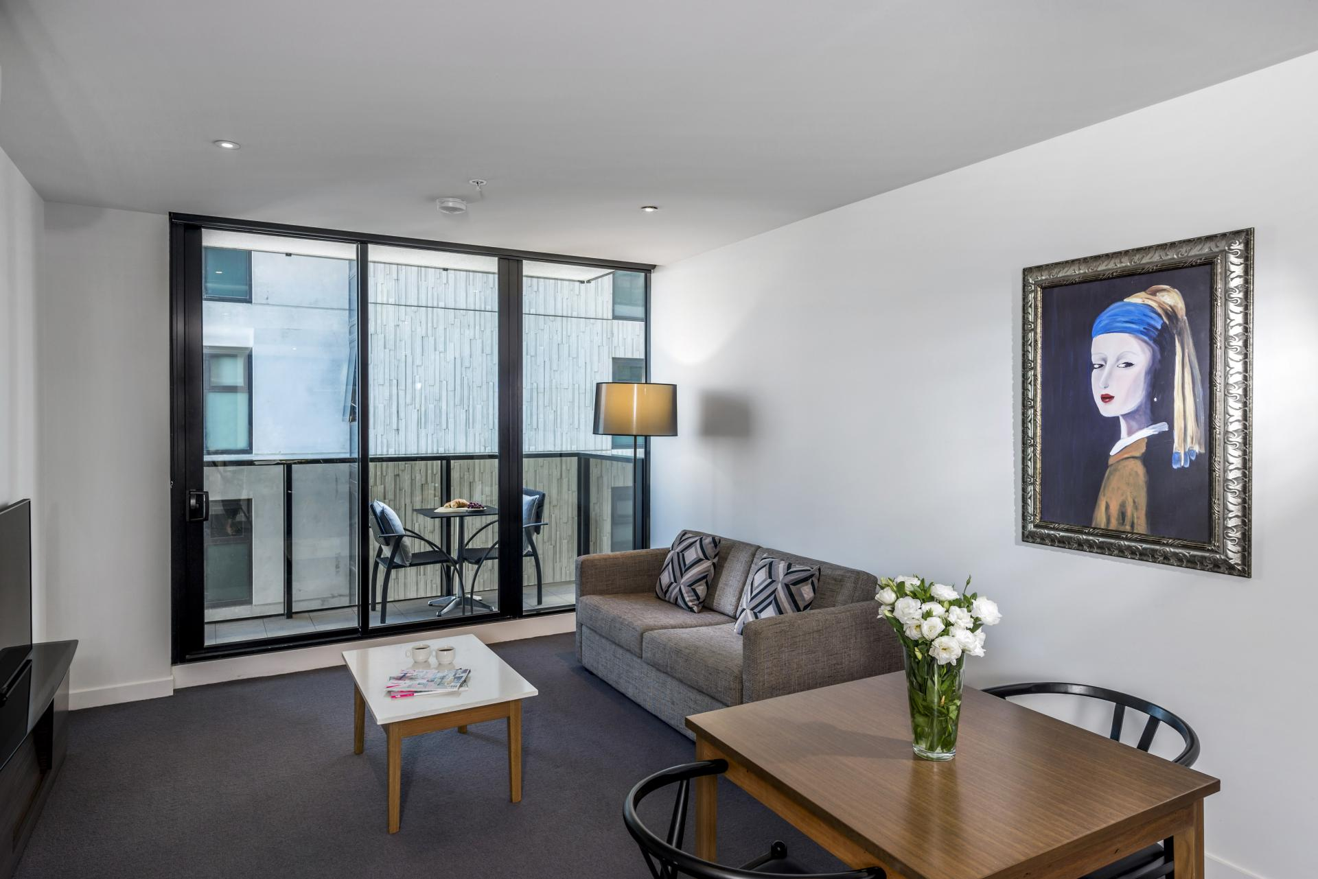 Living room at Wrap Southbank Apartments