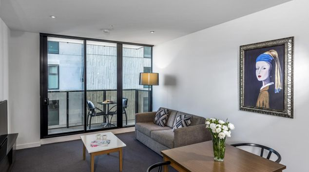 Living room at Wrap Southbank Apartments