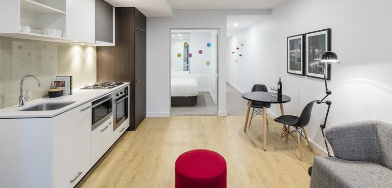Livng room at Oaks Melbourne Southbank Suites