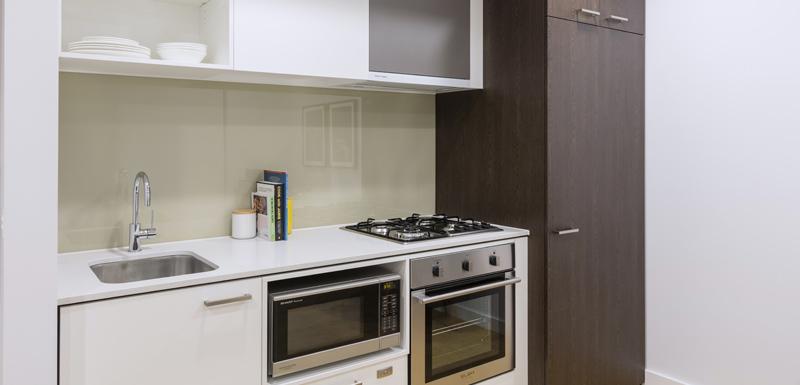 Kitchen at Oaks Melbourne Southbank Suites