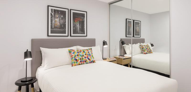Bedroom at Oaks Melbourne Southbank Suites