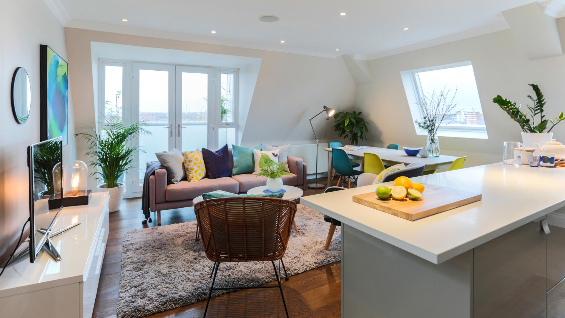 Stylish living room at White Hill 5 Apartment