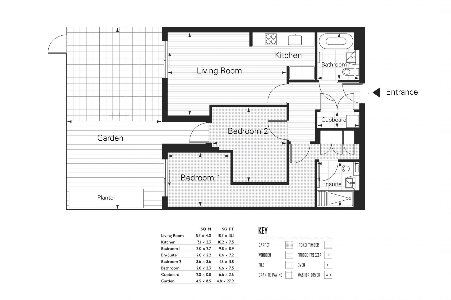 Floor plan at Clapham South 2 Apartment
