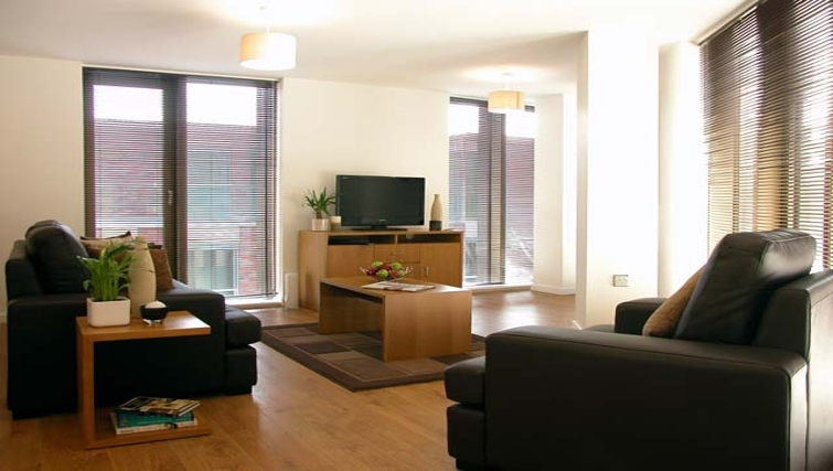 Modern living area at Liverpool One Apartments