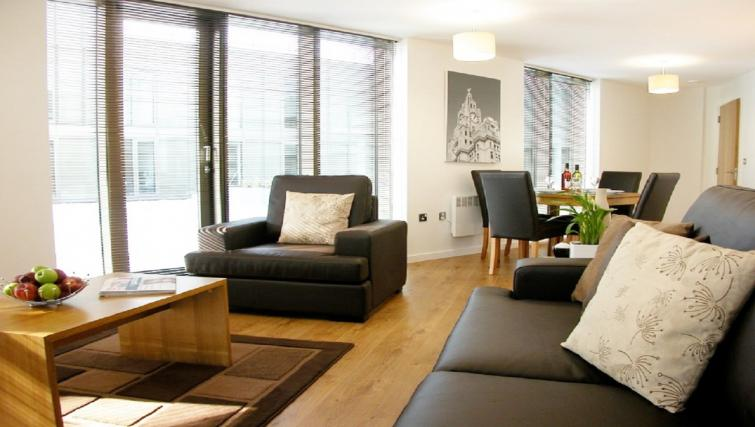 Spacious living area at Liverpool One Apartments