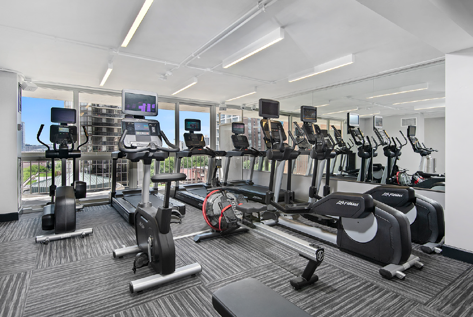 Fitness Center at One East Delaware Apartment
