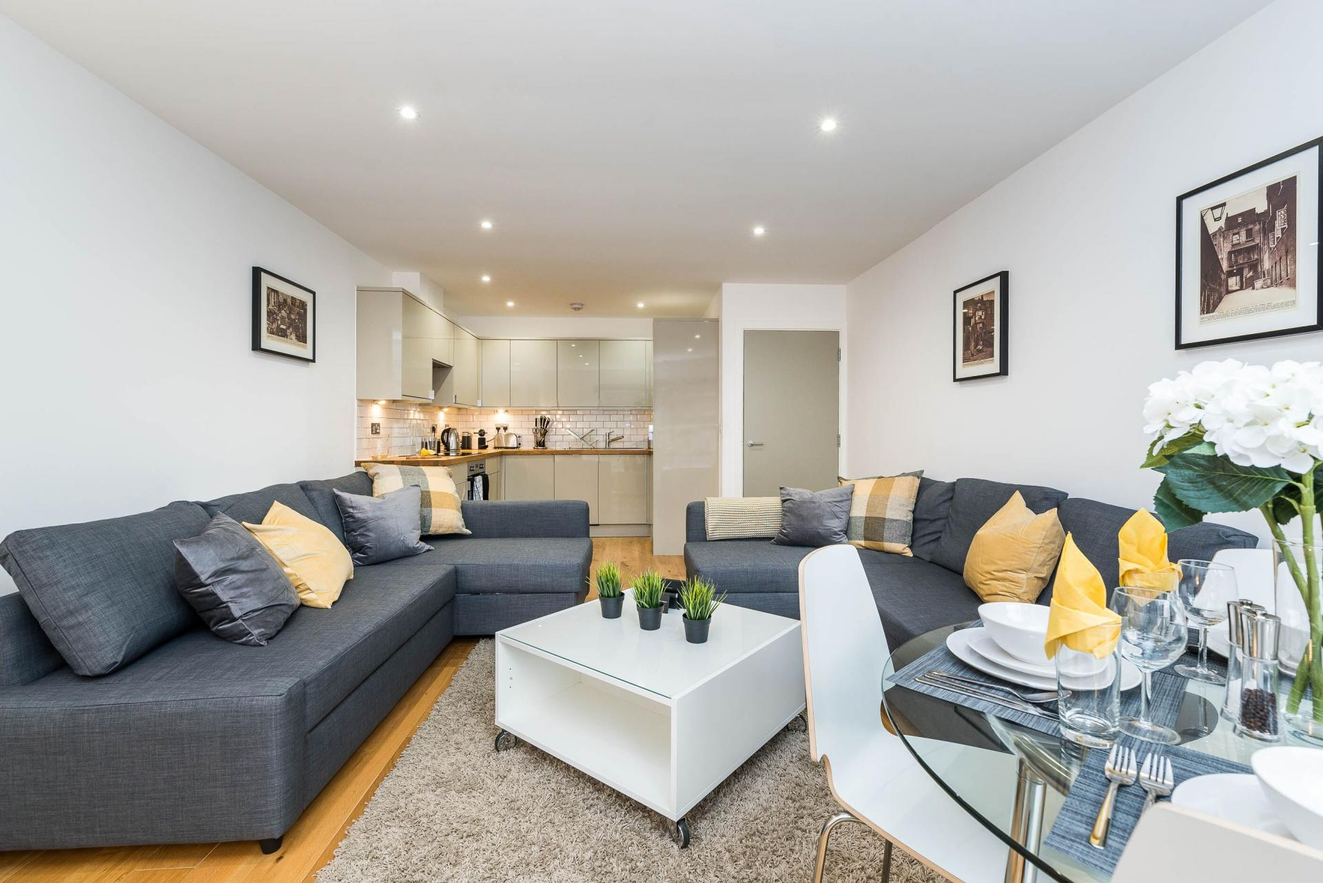 Living room at Vibrant Vauxhall Apartments
