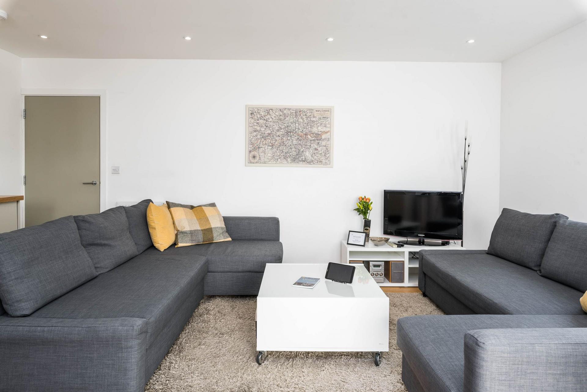Spacious living area at Vibrant Vauxhall Apartments