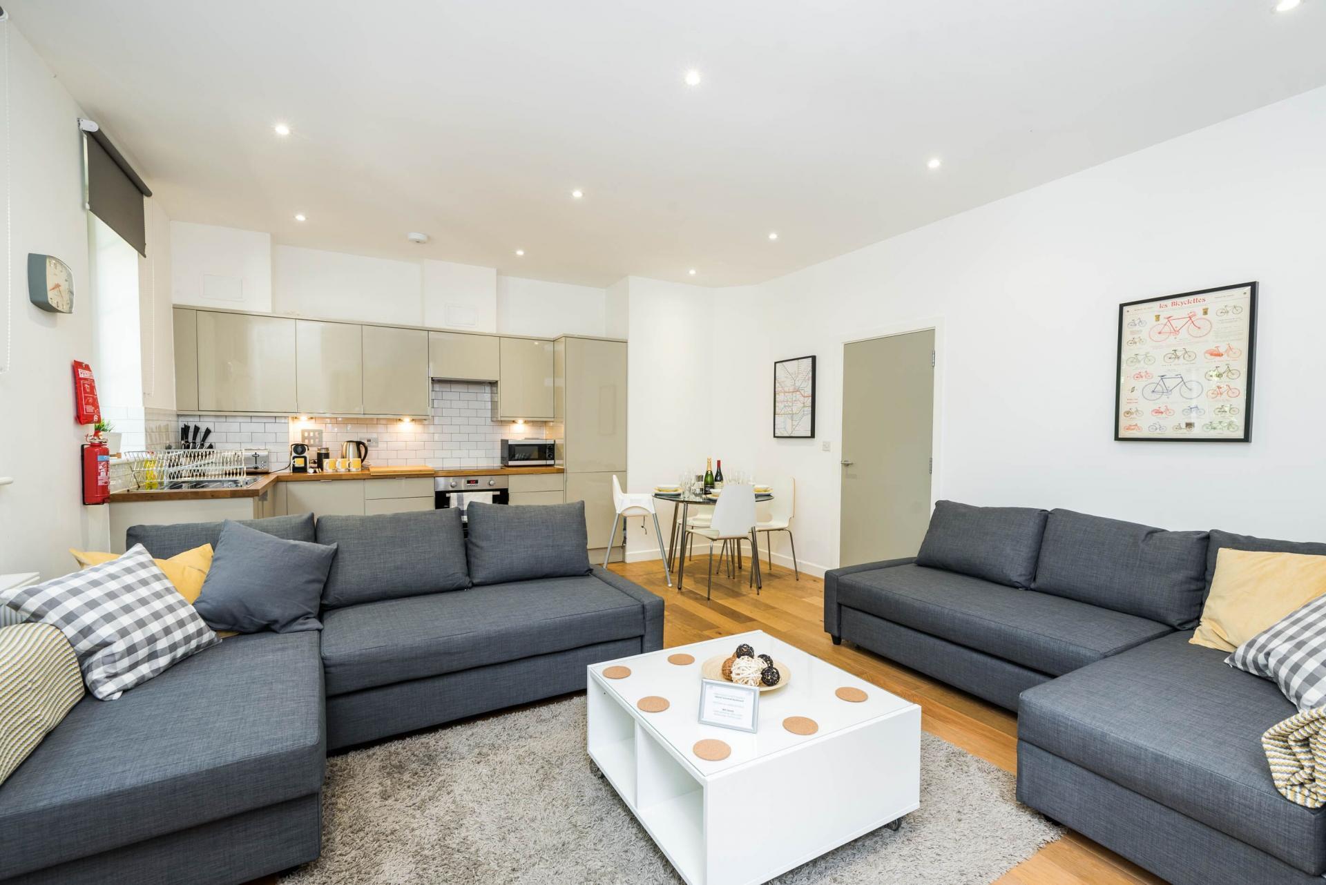Sofa at Vibrant Vauxhall Apartments