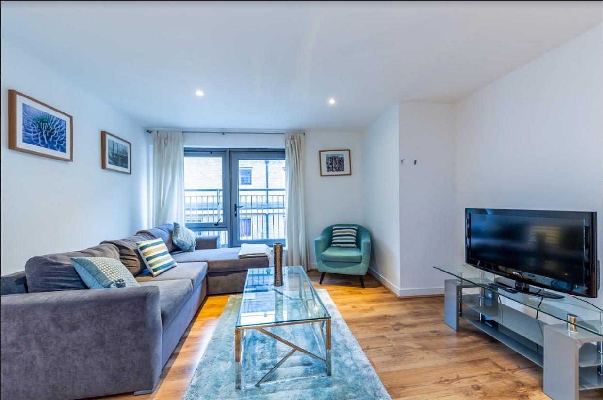 Living room at Steward Street Apartment
