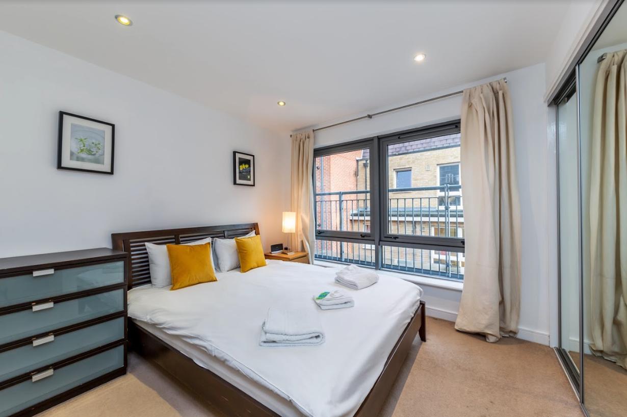 Bright bedroom at Steward Street Apartment