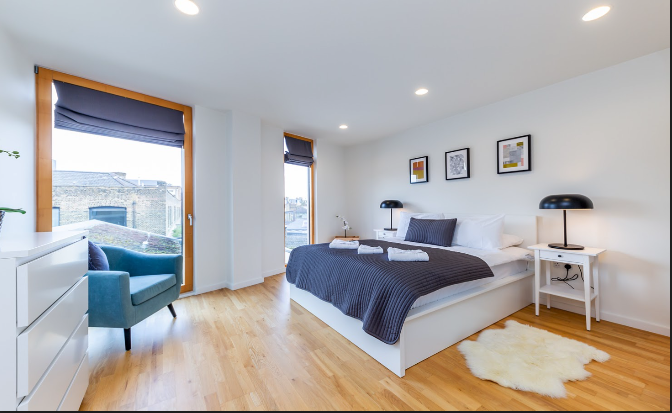 Spacious bedroom at Delancey Street Apartments