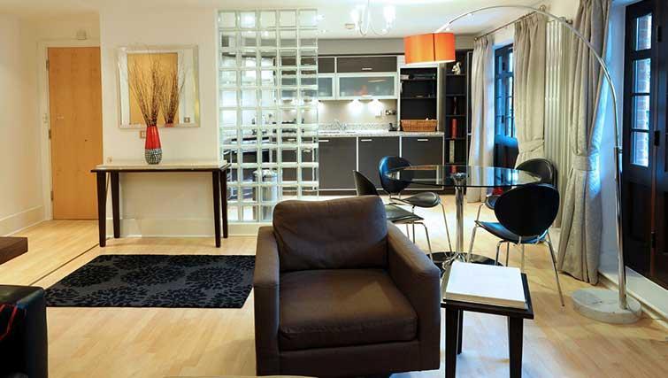 Open-plan living area at Blake Mews Apartments