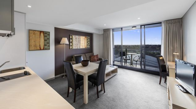 Living room at Oaks Adelaide Horizons Suites