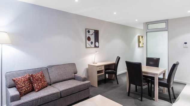 Living area at iStay Precinct Adelaide Apartments