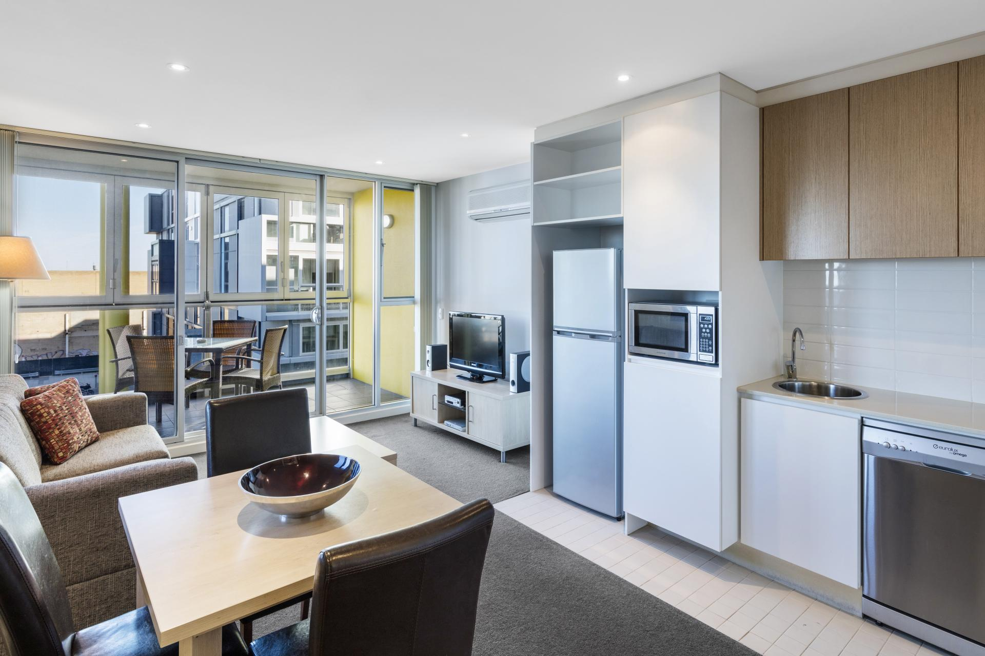 Open plan at iStay Precinct Adelaide Apartments