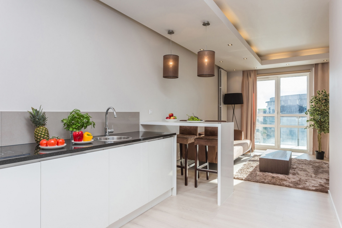 Kitchen at Grzybowska Apartments