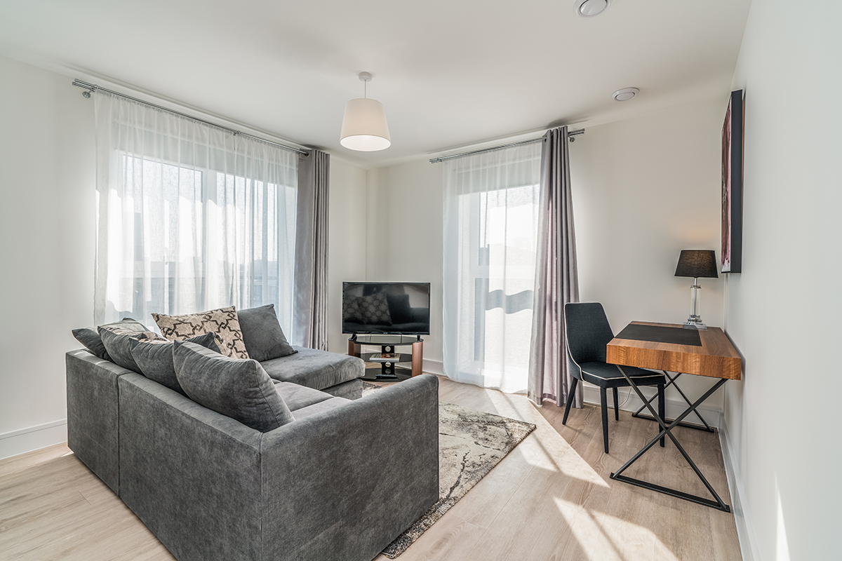 Living room at Deanery Court Apartments