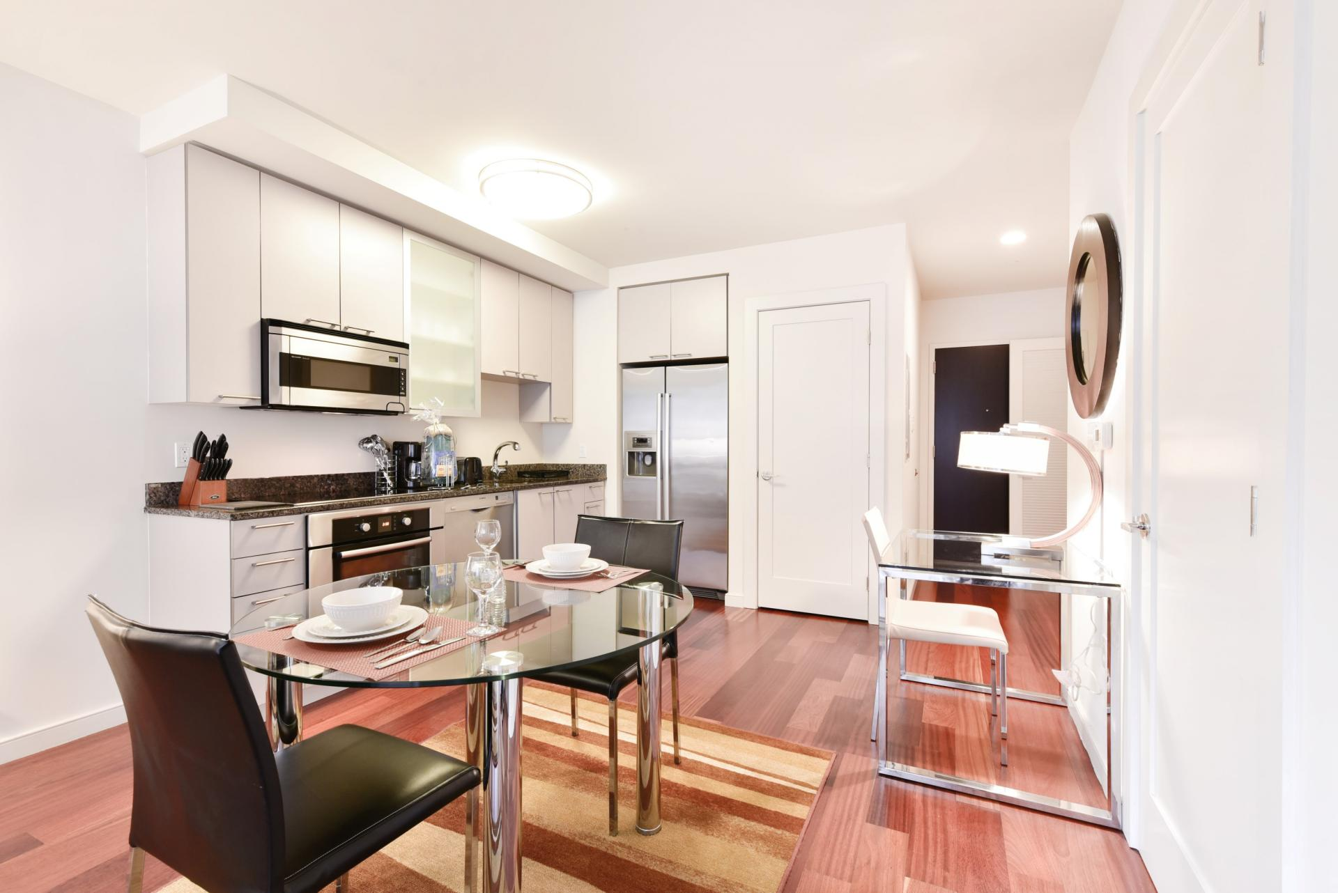 Kitchen/dining area at Avenir Serviced Apartments
