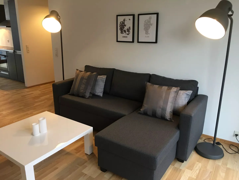Living area at Teglholm Apartment, Sydhavnen, Copenhagen
